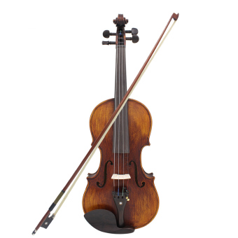 4/4 Full Size Handcrafted Solid Wood Acoustic Violin Fiddle with Carrying Case Tuner Shoulder Rest String Cleaning Cloth Rosin Sordine - Intl