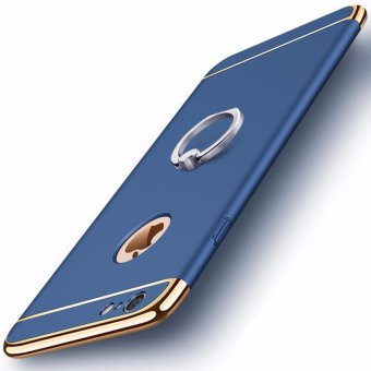 3 in 1 Ultra Slim Metal Hybrid Anti-skidding Hard PC Back CaseCover With Ring Kickstand for Apple iPhone 6/6S(Blue) - intl