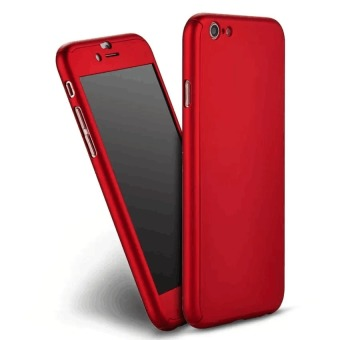 360 Full Cover Plastic Case with Tempered Glass For iPhone 7Plus(Red)