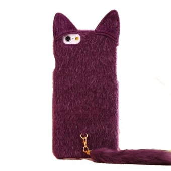 3D Adorable Fluffy Cat with Tail Back Phone Case Cover Skin for Apple iPhone 6/6s 4.7 Inch Purple