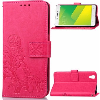 BYT Flower Debossed Leather Flip Cover Case for Oppo A37 Red .