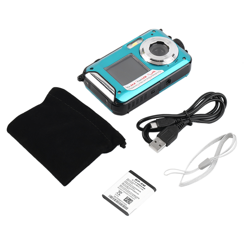 Digital Camera Waterproof 24MP MAX 1080P Double Screen16x Zoom Camcorder Blue