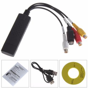 DVD DVR USB 2.0 Capture Video Adapter with Stereo Audio Cable (Black) - intl