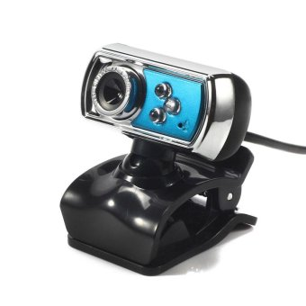 High Quality HD 12.0 MP 3 LED USB Webcam Camera with Mic & Night Vision for PC Blue - intl