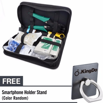 Kingdo 8 in 1 RJ45 Cat5e Cat6 Network Ethernet LAN Kit Cable TesterCrimper Crimping Tool (Black) with Free Holder Stand for Cellphone