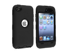 Leegoal 3-part Black Hard Black Skin Hybrid Hard Silicone Case Cover For Ipod Touch