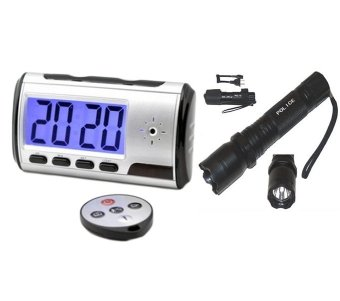 Multifunction Alarm Clock with Spy Camera and Hidden DVR WithRechargeable Police Flashlight with Stun Gun Taser