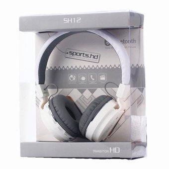 Sports SH12 Stereo Bluetooth Headset With FM And SD Slot (White)