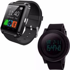 PHP 807. U8 Bluetooth Android Smart Mobile Phone Wrist Watch (Black)With Freebang SKMEI Brand Men Sports Watches Mens Fashion Casual LED Digital ...