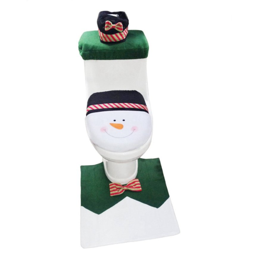 1 Set Snowman Toilet Seat Cover And Rug