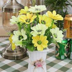 PHP 467 1 set Vase + Silk Flowers Artificial Flower Set Home Flowers Decoration Artificial Wedding