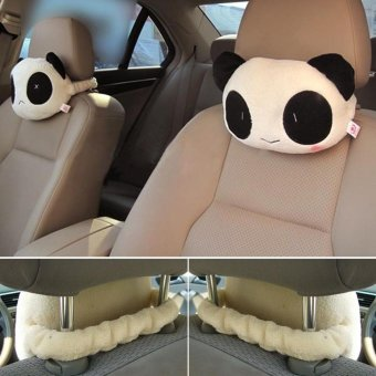 2PCS Creative Panda Auto Car Neck Rest Cushion Headrest Pillow MatShoulder Neckrest Seat Cushion - intl