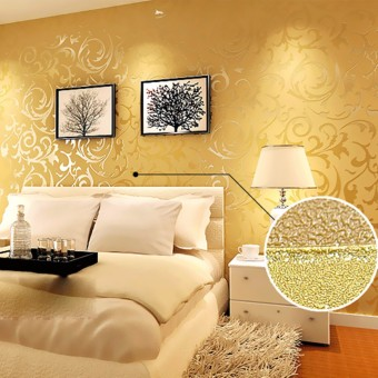 2pcs Wallpaper Roll Damask Textured Embossed Home Decor
