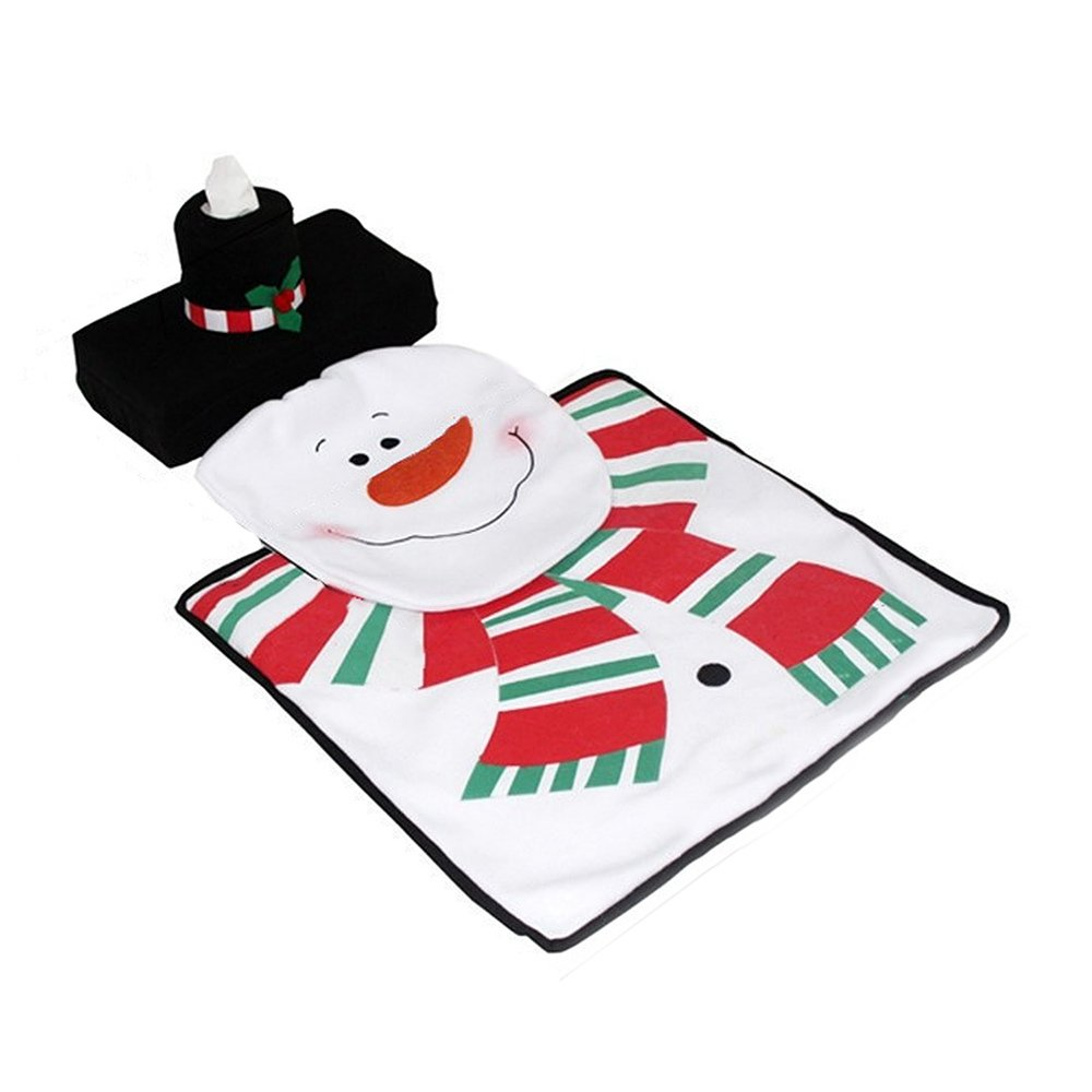 3 PCS Christmas Decorations Happy Snowman Toilet Seat Cover and Rug Bathroom Set Included Toilet Seat Cover   Tank Lid and Tissue Cover   a Bathroom Rug. 3 PCS Christmas Decorations Happy Snowman Toilet Seat Cover and