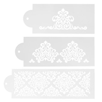 3pcs Lace Flower Cake Cookie Fondant Side Baking Stencil WeddingDecor Tool - intl