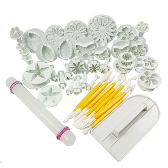 46pcs Cake Decoration Tools Flower Fondant Cake Sugarcraft Decorating Kit Cookie Mould Icing Plunger Cutter Tool - intl