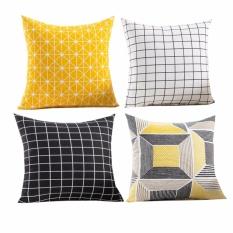 4PC (45cmX45cm)Home Fashion Premium Geometric Shapes Cotton Linen Square Throw Pillow Case Decorative