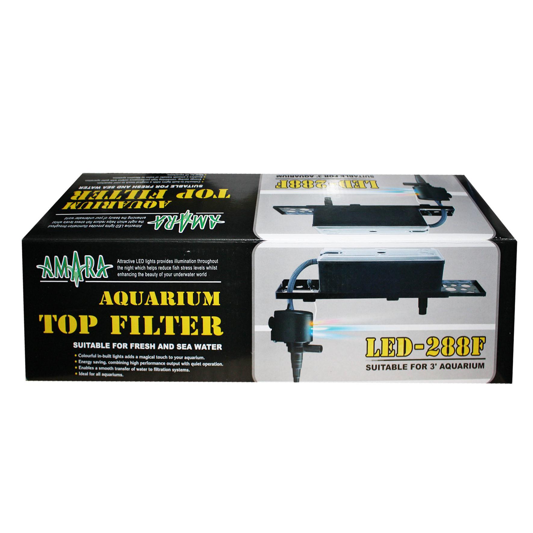Cabinet aquarium fish tank tropical 60cm 2ft 100l - Amara Led 288f Aquarium Top Filter