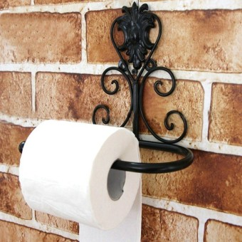 Bathroom Oil Rubbed Bronze Wall Mounted Toilet Paper Holder Tissue Roll Holder Black - Intl