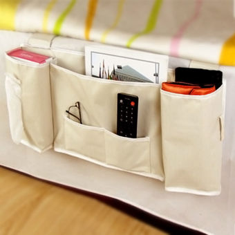 Bedside Bed Pocket Bed Organizer Hanging Bag Phone Holder StorageBag - intl