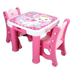 Bestbaby Lovely Plastic Study Table And Chairs Set Pink