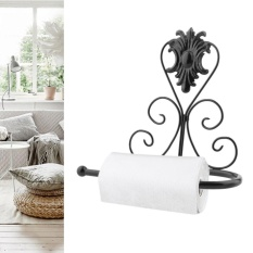 ERA Vintage Design Classical Iron Paper Towel Roll Holder Wall Mount Rack Hanger Black - intl