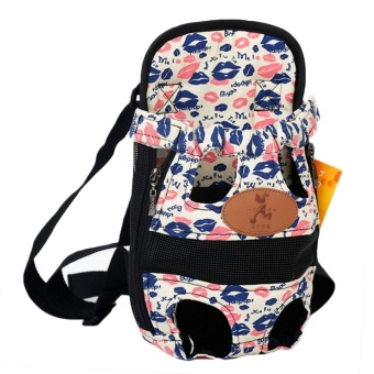 Fashion Pet Cat Dog Puppy Outdoor Traveling Front Backpack CarrierBreathable Dual Shoulder Bag with Leg Holes Size L for Pet LessThan 5.5kg Lip Style - intl