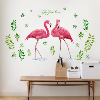 Flamingo cute self-adhesive bedroom living room sticker wall adhesive paper
