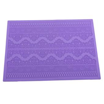 Flower Pattern Silicone Mat Fondant Cake Lace Embossed Cake Mold Mould Purple - intl