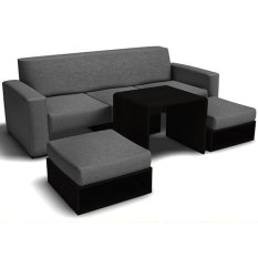 Furniture Source Sofa Set With Ottomans And Center Table (Dark Gray)