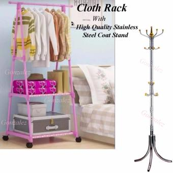Gonzalez Multipurpose Durable Cloth Rack (Pink) with StainlessSteel Hat/Coat/Clothes Stand Rack (Silver/Gold)