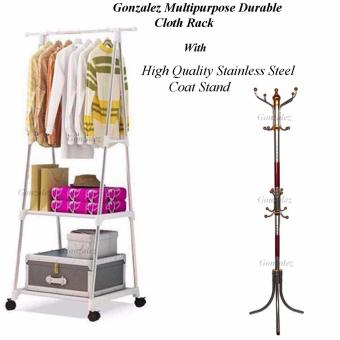 Gonzalez Multipurpose Durable Cloth Rack (White) with High QualityStainless Steel Coat Stand (Silver/Red)