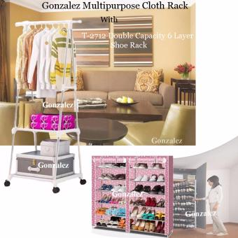 Gonzalez Multipurpose Durable Cloth Rack (White) with High QualityT-2712 Double Capacity 6 Layer Shoe Rack Shoe Cabinet Blues Clues(Pink)
