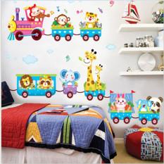 Hanyu Cute Animal Train Wall Sticker Home Wallpaper Multicolor
