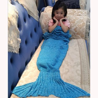Hanyu Mermaid Tail Blanket Crochet Mermaid Blanket for Child KidsSofa Quilt Living Room Bedroom Camping Warm Soft All SeasonsSeatail Sleeping Bag Blanket Sleeping Throws140* 70cm (Flower Blue)- intl