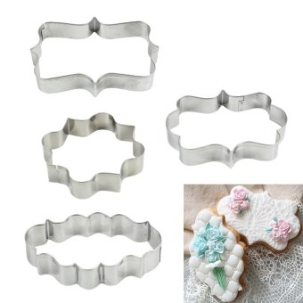 High Service 4PCS Plaque Frame Fondant Cookie Cutter Set SquareRectangle Oval Cake Mold Mould Set Craft - intl