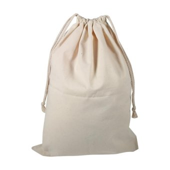 Household Plain Cotton Drawstring Storage Laundry Sack Stuff Bag 30* 40CM - intl