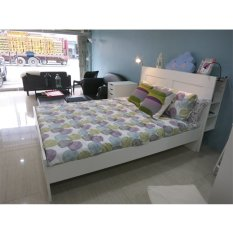 white queen bed frame with storage