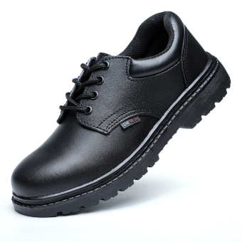 Leather for men and women breathable anti-smashing safety work shoes safety shoes