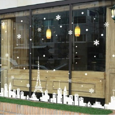 ... Stickers Diskon celanapria com Source 360DSC Christmas Wall Poster Eiffel Tower White Castle Snow Glass Window