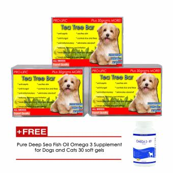 Prolific Tea Tree Oil Organic Soap for Cats and Dogs 130g Set of 3 With Free Pure Deep Sea Fish Oil Omega 3 Supplement for Dogs and Cats