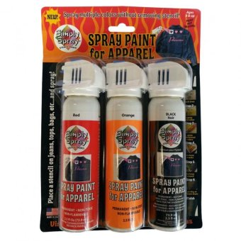 Simply Spray Spray Paint for Apparel Set of 3 (Red/Orange/Black)