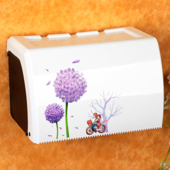 Toilet Paper Holder Wall Mounted Bathroom Tissue Holder with PhoneStorage Shlf, Plastic Tissue Box, Tissue Holder with A Roll