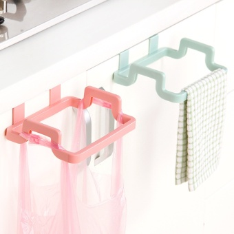 Trash Bag Holder Wipers Rack Over Door Rack Bar Hanging Holder Rail Organizer Bathroom Kitchen Cabinet Cupboard Hanger Shelf-Blue - intl