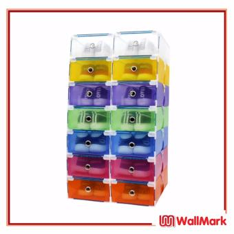 Wallmark Foldable Plastic Colorful Drawer Case Shoe Storage Organizer Stackable Box Set of 12