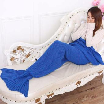 YingWei Mermaid Tail Blanket Crochet Mermaid Blanket for BabyInfant Kids Sofa Quilt Living Room Bedroom Camping Warm Soft AllSeasons Seatail Sleeping Bag Blanket Sleeping Throws 90 * 50cm(Dark Blue) - intl