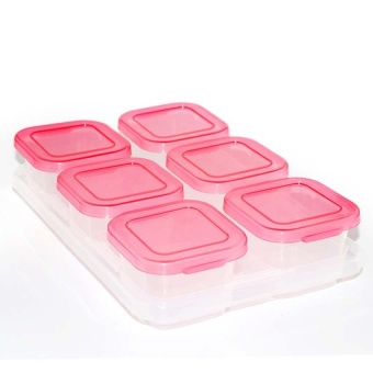 60ML 6 Piece Baby Block Set Baby Food Freezer Tray Food ContainersSprout Cups Reusable Stackable Storage Cups with Tray - intl