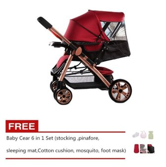 Angel Baby Two-way Four-wheel Folding Aluminum Alloy Baby Stroller(Red/Black) with Free Baby Care 6 in 1 Set