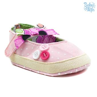 Baby Steps Buttons Ribbon Baby Girl Shoes (Pink)