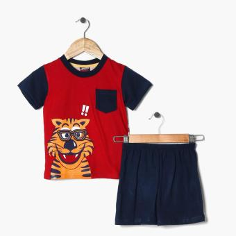 BGS Boys Delighted Tiger Tee and Shorts Set (Red)